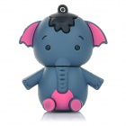 Lovely Cartoon Elephant Style USB 2.0 Flash Drive Disk - Blue Grey + Deep Pink (16GB)