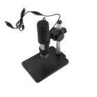800X 2.0MP USB Wired Digital Microscope w/ 8-LED Light / Mount Holder / Base - Black