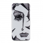 Ultrathin Oil Painting Pattern TPU Case for IPHONE 6 Plus - White + Black