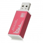 USB 2.0 Multi-functional SD / TF / MS / M2 Card Reader - Wine Red