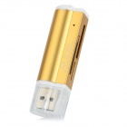 Lighter Style USB 2.0 Multi-functional SD / TF / MS / M2 Card Reader - Golden + White