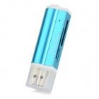 Lighter Style USB 2.0 Multi-functional SD / TF / MS / M2 Card Reader - Blue + White