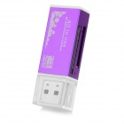 Lighter Style USB 2.0 Multi-functional SD / TF / MS / M2 Card Reader - Purple + White
