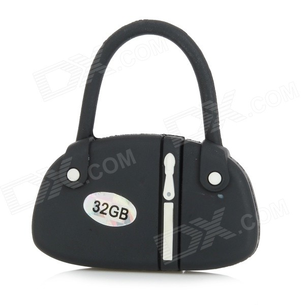 estilo mini bolsa USB 2.0 flash drive - preto + branco (32GB)