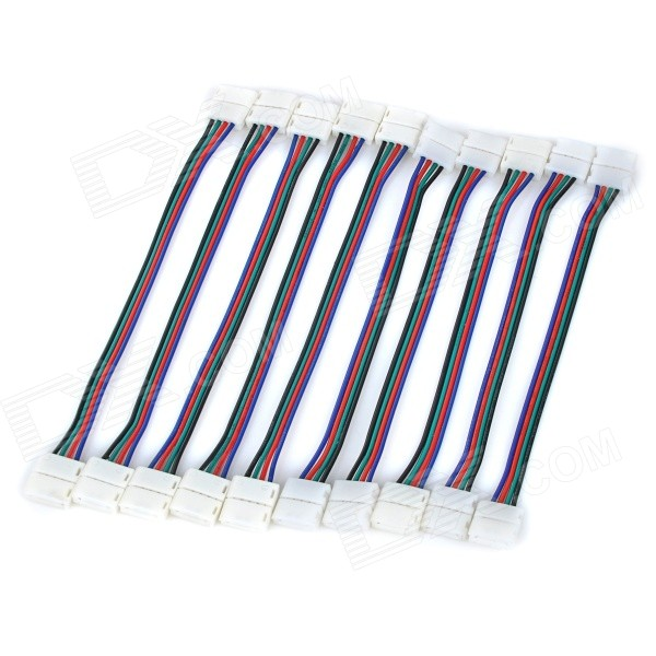 PVC Extending Connecting Cables for 5050 / 3528 RGB LED Strip - Black + Red (10 PCS / 10 x 15cm)