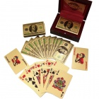LLF004 Color Printed 100USD Pattern Gold Foil Plated Playing Cards Poker w/ Wooden Case - Red + Gold
