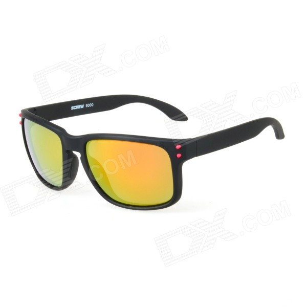 Stylish Black Frame UV400 Red REVO Lens Sunglasses