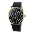 Women's Mesh Pattern PU Band Analog Quartz Casual Wrist Watch