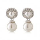 Rshow Women's Circle Artificial Pearl 18K RGP Alloy Earrings - White (Pair)