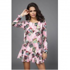 Women's Fashionable Fold Lotus Leaf Printing Design Long-sleeved Mini Dress - Pink + Multi-Colored