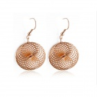 Rshow Women's Hollow-out Spiral Design Earrings - Gold (Pair)