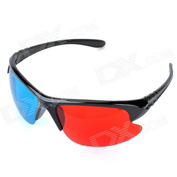 Stylish Re-useable Plastic Frame and Lens Red + Blue 3D Glasses