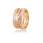 Rshow Fashionable 3-Piece 18K RGP Alloy Crystal Decoration Ring - Golden (US Size: 9)