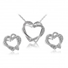 Rshow Overlapping Dual Hearts Shaped Pendant Necklace + Earrings Set - White