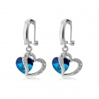 Rshow Women's Stylish Blue Ocean Series Rhinestone-studded Earrings - White (Pair)