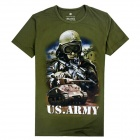 Men's Tank Corps Pattern Spandex + Lycra Short-sleeved T-shirt - Army Green + Multi-Colored (XL)