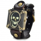 D2-7 Retro Skull Patterned Dial PU Leather Band Quartz Analog Watch - Deep Brown + Bronze (1 x 626)