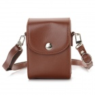 Lichee Pattern Anti-Shock Protective PU Leather Camera Bag w/ Shoulder Strap - Brown