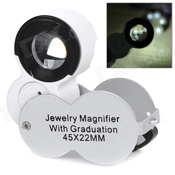 45X Jewelry Magnifier w/ Money Detector / LED - Silver (3 x LR1130)