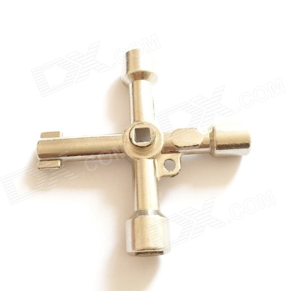 B326 Professional 4-Mouth Cross Steel Tubular Key - Silver