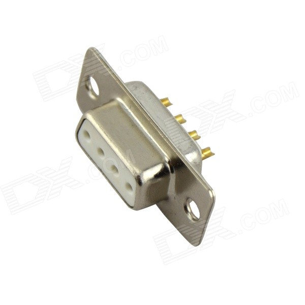 KDR D-SUB4W4 4-Pin Female Plug for DIY Project - Silver