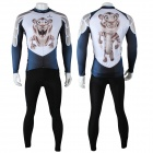 Paladinsport Cute Tiger Print Men's Long-sleeve Jersey + Pants Set for Cycling - White + Black (S)