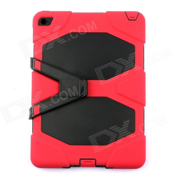PC-291R Silicone Shockproof Case w/ Stand for IPAD AIR 2 - Red + BlackIpad Cases<br>Form ColorBlack + Red + Multi-ColoredModelPC-291RQuantity1 DX.PCM.Model.AttributeModel.UnitMaterialSiliconeShade Of ColorRedCompatible ModelsIPAD AIR 2DesignMixed Color,With StandTypeCases with Stand,Full Body CasesAuto Wake-up / SleepNoPacking List1 x Case<br>