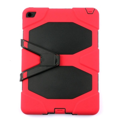 PC-291R Silicone Shockproof Case w/ Stand for IPAD AIR 2 - Red + Black