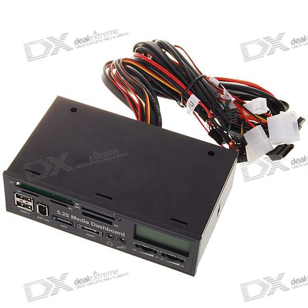 """All-in-1 1.7"""" LCD Display Front Panel 5.25"""" Dashboard w/ Card Reader/SATA/eSATA/USB/1394/3.5mm"""