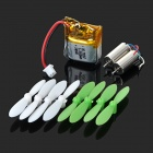 Replacement Blades + Motors + Battery Accessories Set for CX-10 Quadcopter - Green + White
