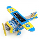 3D DIY Educational Assembly Puzzle Solar Powered Wooden Aircraft Woodcraft Toy - Blue + Yellow