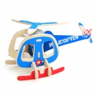3D DIY Educational Assembly Puzzle Solar Powered Wooden Helicopter Woodcraft Toy - Blue + Red