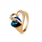 Rshow Gorgeous Heart Design Sapphire & Crystal Rhinestone Decorated Ring - Golden (US Size: 9)
