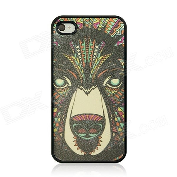 Bear Pattern Protective Case for IPHONE 4 / 4S - Black + Multi-Color