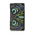Owl Vein Pattern Back Case for Sony Xperia Z / L36h - Black + Purple