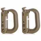 Portable D-Ring Locking Carabiners - Khaki (2 PCS)
