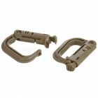 Outdoor Portable D-Shaped PVC Locking Carabiners - Khaki (2PCS)