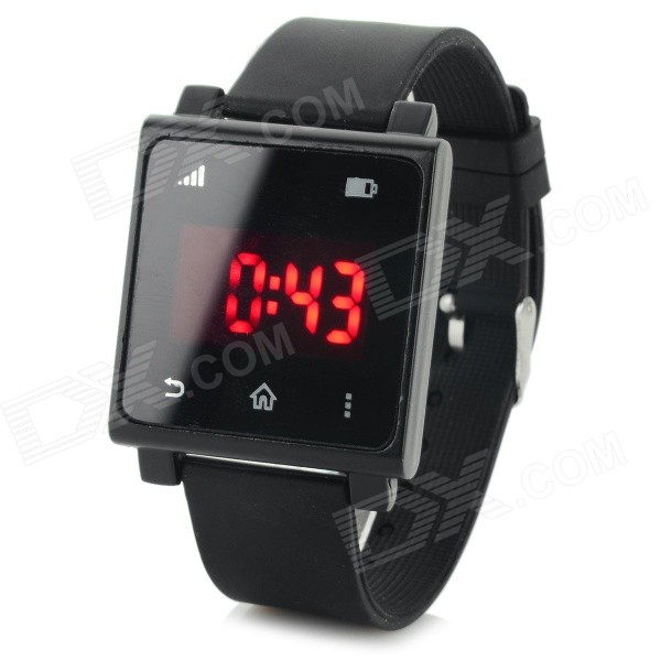 Fashion Square Touch Red LED Silicone Band Wrist Watch - Black