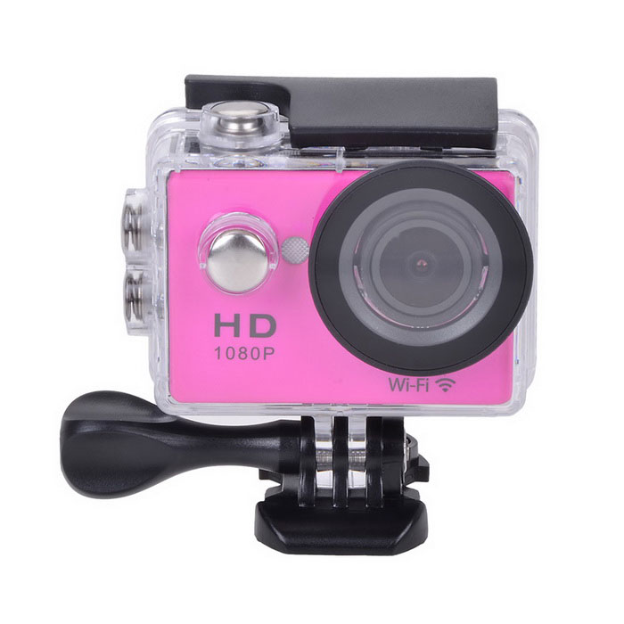 "EOSCN W9 HD 1080P Waterproof 2/3"" CMOS 12MP Sports Camera - Deep Pink"
