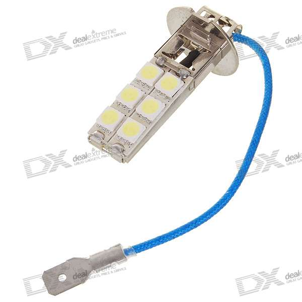 H3 3.8W 130-Lumen 12x5050 SMD LED Car White Light Bulb (DC 12V) 9006 6w 190 lumen 18x5050 smd led car white light bulb dc 12v