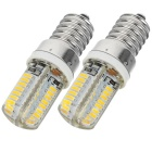 JR-LED E14 4W 370lm 3300K 64-SMD 3014 LED Warm White Corn Lamps - White + Silver (AC220~240V / 2PCS)