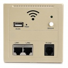 KY-928 86 Panel Type POE Wall Embedded Wireless Wi-Fi AP Access Point w/ RJ45 / USB / Phone - Khaki