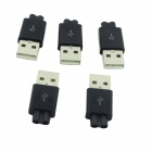 DIY Two-Wire Output USB Male Connectors - Black (5 PCS)