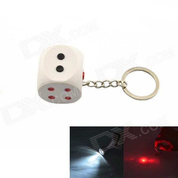 Practical Joke Dice Style Keychain w/ Electric Shock Effect - White