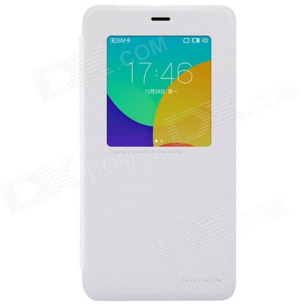 NILLKIN Protective PU Leather Case Cover for MEIZU MX4 Pro - White