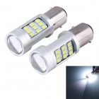 1156 40W 27-3528 + 3-2835 SMD LED Cool White Astigmatism Convex Lens Turn Signal/Back-up Light(2PCS)
