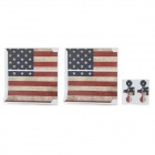 US Flag Pattern PVC Sticker Set for PS4 - Red + Blue