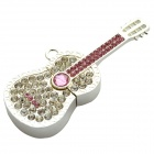 HanGreat Guitar Style w/ Decorated Rhinestones USB 2.0 Flash Drive - Silver + Pink (8GB)