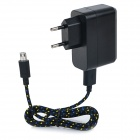 EU Plug USB Power Adapter w/ 1m Braided Data Cable for Samsung Galaxy Tab 4 7.0 / 8.0 / 10.1 - Black