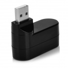 Rotary USB 2.0 Data / carregamento Hub w / 3-Port USB 2.0 - Preto